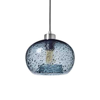 Casamotion 9 in. W x 6 in. H 1-Light Silver Rustic Seeded Hand Blown Glass Pendant Light with Blue Glass Shade - Home Depot