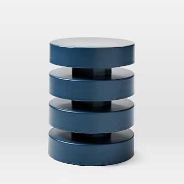 Floating Disks Side Table, Petrol Blue - West Elm