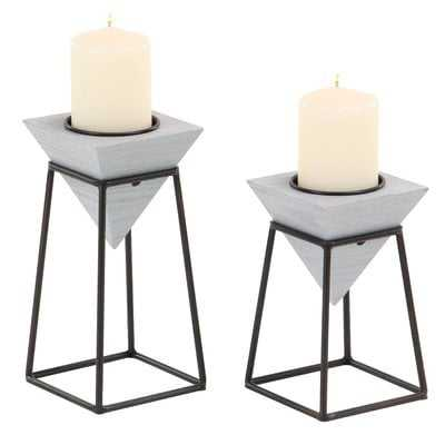 Modern Inverted Pyramid 2 Piece Candlestick Set with Stand - AllModern