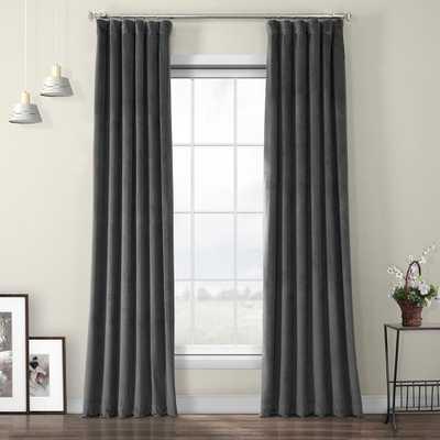 Exclusive Fabrics & Furnishings Pepper Gray Heritage Room Darkening Plush Velvet Curtain - 50 in. W x 96 in. L - Home Depot