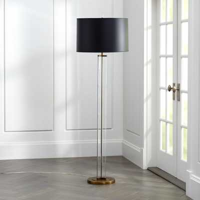 Gleam Crystal/Brass Black Shade Floor Lamp - Crate and Barrel