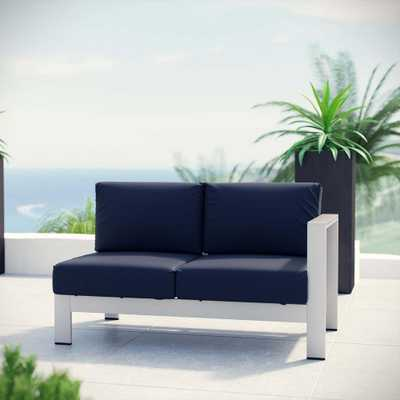 MODWAY Shore Aluminum Right Arm Outdoor Sectional Chair Loveseat in Silver with Navy Cushions - Home Depot