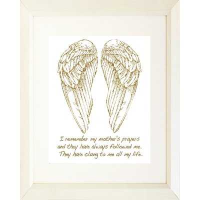 Typography Religious Angel Wings and Quote 'Mother's Prayers' Framed Textual Art - Wayfair