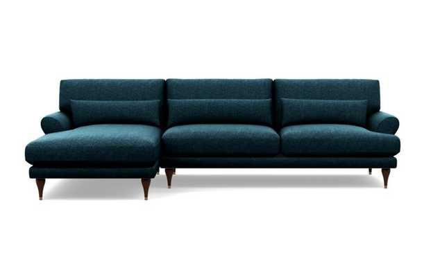 Maxwell Left Sectional with Blue Indigo Fabric and Oiled Walnut with Brass Cap legs - Interior Define
