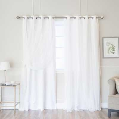 Best Home Fashion White 96 in. L Marry Me Lace Overlay Room Darkening Curtain Panel (2-Pack), White Tulle - Home Depot