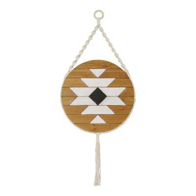 Stratton Home Decor Hanging Boho Wood Wall Art, White/ black/ natural wood - Home Depot