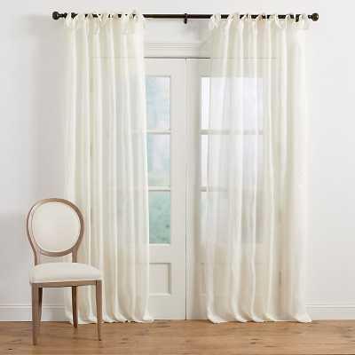 Ballard Designs Linen Sheer Tie Top Panel Ivory 96 inch - Ballard Designs
