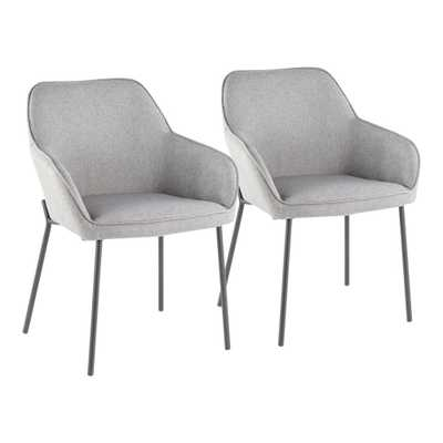 Lumisource Daniella Grey Dining Chair (Set of 2), Grey/Black - Home Depot