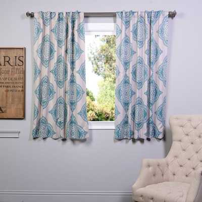 Exclusive Fabrics & Furnishings Semi-Opaque 63 in. L Polyester Curtain in Blue (Panel) - Home Depot