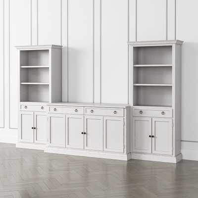 Cameo Dama 3-Piece Entertainment Center with Storage Bookcases - Crate and Barrel
