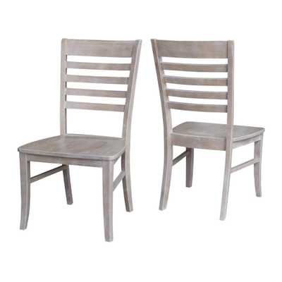 Milan Weathered Gray Wood Dining Chair (Set of 2) - Home Depot