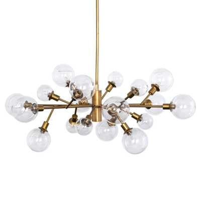 Juliet Modern Classic Sculptural 18 Arm Clear Glass Globe Gold Chandelier - Kathy Kuo Home