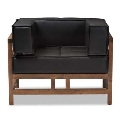 Shaw Black Faux Leather Arm Chair - Home Depot