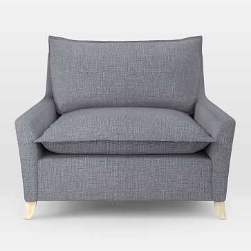 Bliss Down-Filled Chair-and-a-Half, Yarn Dyed Linen Weave, Shelter Blue - West Elm