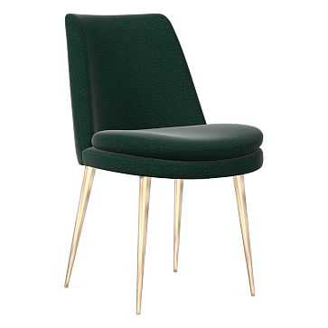 Finley Dining Chair, Low Back, Light Bronze Leg, Distressed Velvet, Forest, Light Bronze - West Elm