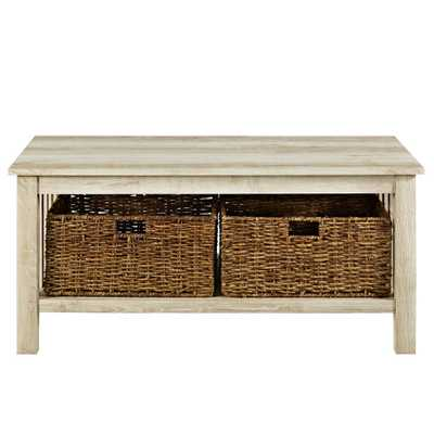40 in. White Oak Wood Storage Coffee Table with Totes - Home Depot