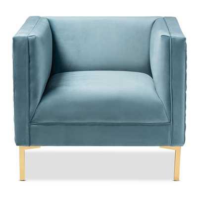 Baxton Studio Seraphin Light Blue and Gold Fabric Armchair - Home Depot