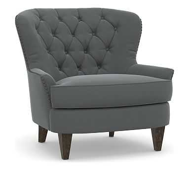 Cardiff Upholstered Armchair, Polyester Wrapped Cushions, Performance Plush Velvet Slate - Pottery Barn