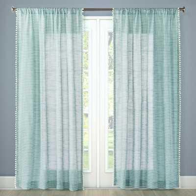 "Pom Stripe Window Sheer Aqua (Blue) (54""x84"") - Threshold - Target"