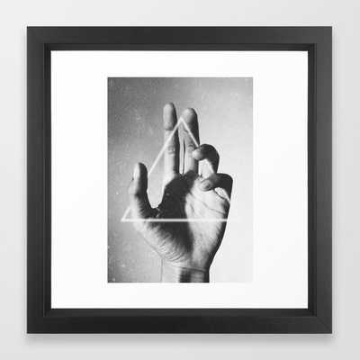 """Hand + triangle- 12"""" x 12""""- Vector Black frame with mat - Society6"""