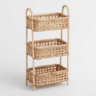 Natural Rattan Cane 3 Tier Farrah Storage Tower by World Market - World Market/Cost Plus