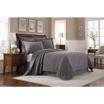 Williamsburg Abby Grey Queen Coverlet - Home Depot