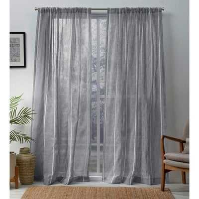 Derwin Striped Sheer Rod Pocket Curtain Panels (set of 2) - Birch Lane