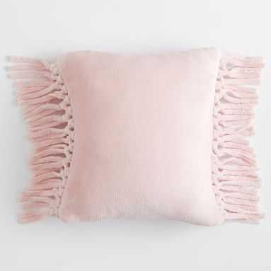 Bohemian Fringe Plush Square Pillow, Quartz Blush - Pottery Barn Teen