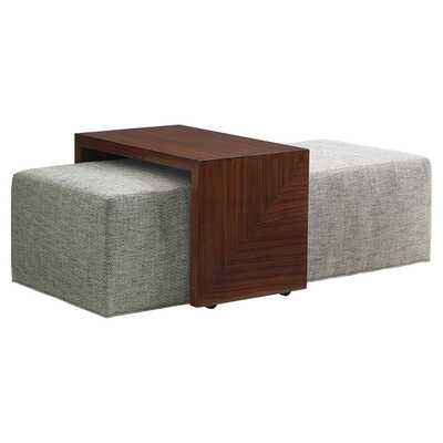Lexington Broadway Modern Upholstered Cocktail Ottoman with Slide Tray - Kathy Kuo Home