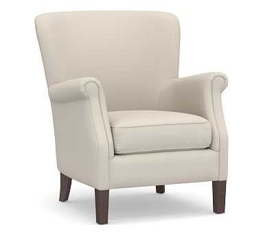 SoMa Minna Upholstered Armchair, Polyester Wrapped Cushions, Performance Brushed Basketweave Oatmeal - Pottery Barn