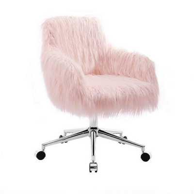 Fiona Chrome Base Office Chair Blush Pink - Linon, White - Target