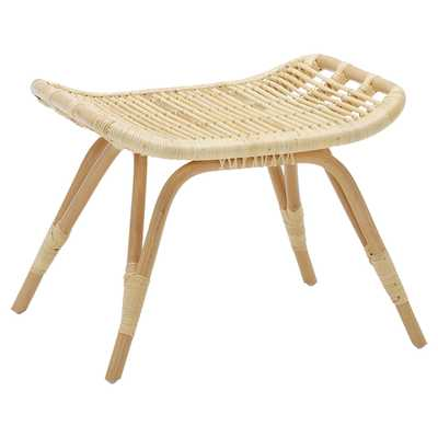 Alexis Coastal Beach Natural Rattan Stool - Kathy Kuo Home