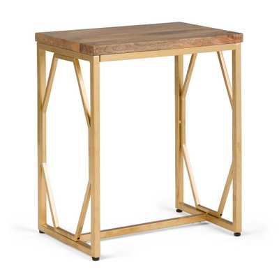 Selma Natural and Gold Metal/Wood Accent Table - Home Depot