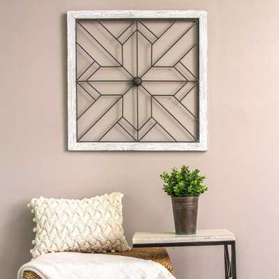 Square Metal and Wood Art Deco Wall Decor - Home Depot