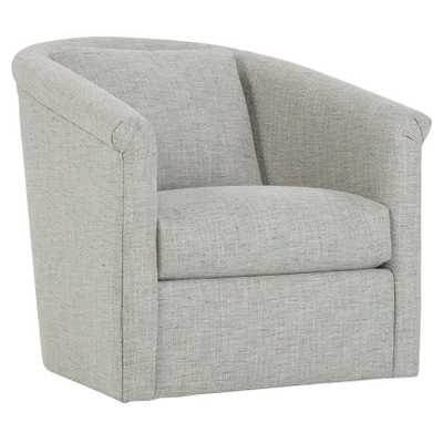 Cruz Modern Classic Light Grey Curved Swivel Chair - Kathy Kuo Home