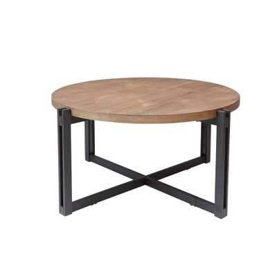 Dakota Gray and Brown Round Wood Top Coffee Table - Home Depot