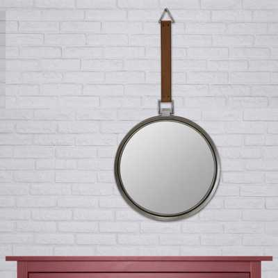 33 in. x 17 in. Brown Metal Trimmed Mirror with Hanging Faux Leather Strap - Home Depot