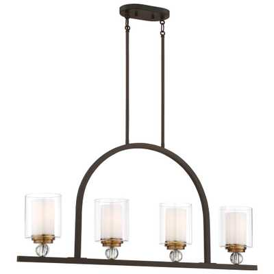 Minka Lavery Studio 5 Collection 4-Light Painted Bronze with Natural Brushed Brass Finish Pendant - Home Depot