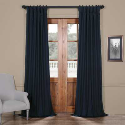 Exclusive Fabrics & Furnishings Polo Navy Blue Solid Cotton Blackout Curtain - 50 in. W x 120 in. L - Home Depot