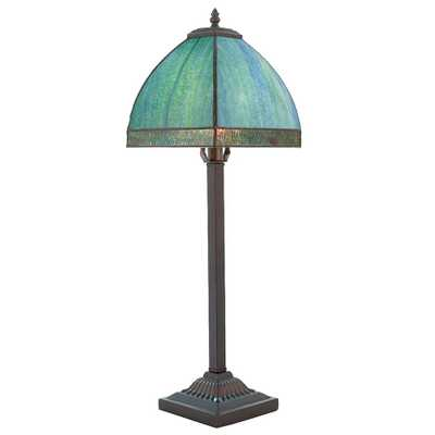 River of Goods 25 in. Aqua Bent Panel Table Lamp with Stained Glass Shade - Home Depot