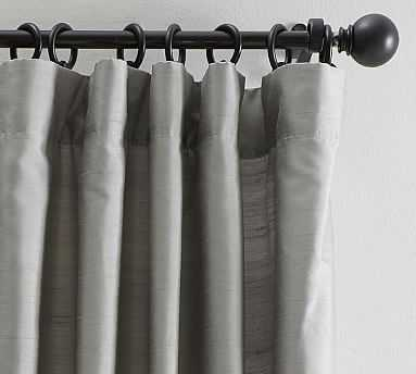 "Dupioni Silk Pole Pocket Drape with Blackout, 50"" x 96"", Platinum Gray - Pottery Barn"
