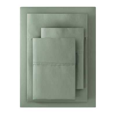 300 Thread Count Wrinkle Free USA Grown Cotton Sateen 4-Piece King Sheet Set in Willow Green - Home Depot