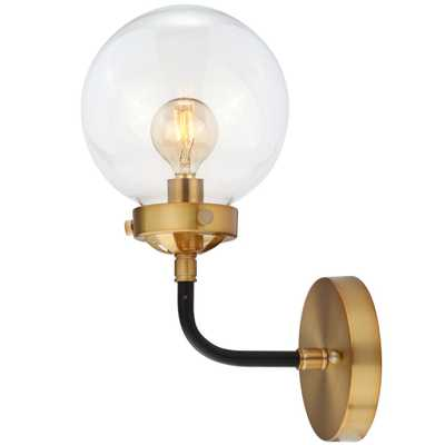 JONATHAN Y Caleb 1-Light 8 in. Black/Brass Wall Sconce - Home Depot