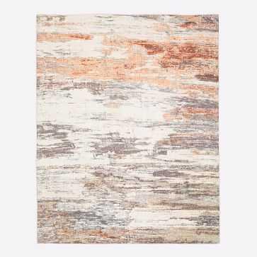 Abstract Sea Rug, Platinum/Copper, 9'x12' - West Elm