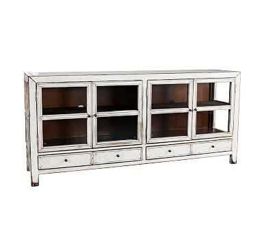 Lakewood Glass Media Console, Antique White - Pottery Barn