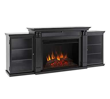 Real Flame(R) Tracey Grand Electric Fireplace Media Cabinet, Black - Pottery Barn