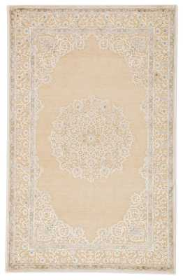 "Malo Medallion Beige/ Green Area Rug (5'X7'6"") - Collective Weavers"