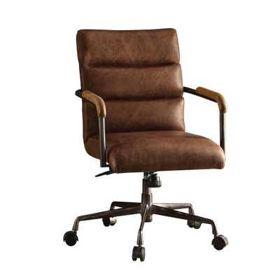 Harith Retro Brown Top Grain Leather Office Chair - Home Depot