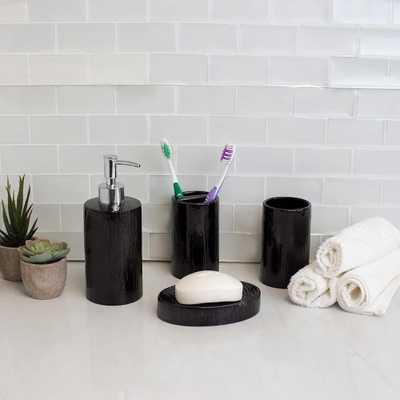 Home Basics High Gloss Textured Ceramic Modern 4-Piece Bath Accessory Set in Black - Home Depot