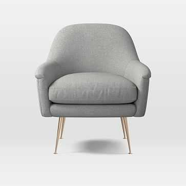 Phoebe Chair, Heathered Crosshatch, Feather Gray - West Elm